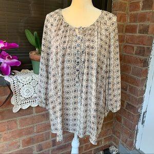 Womens Plus Size Soiree Beige Print Tunic Size 3X